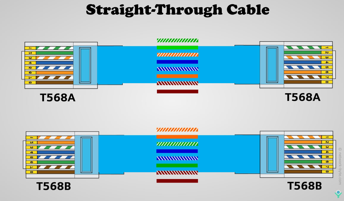 straight through cable EIA/TIA 568A and EIA/TIA 568B